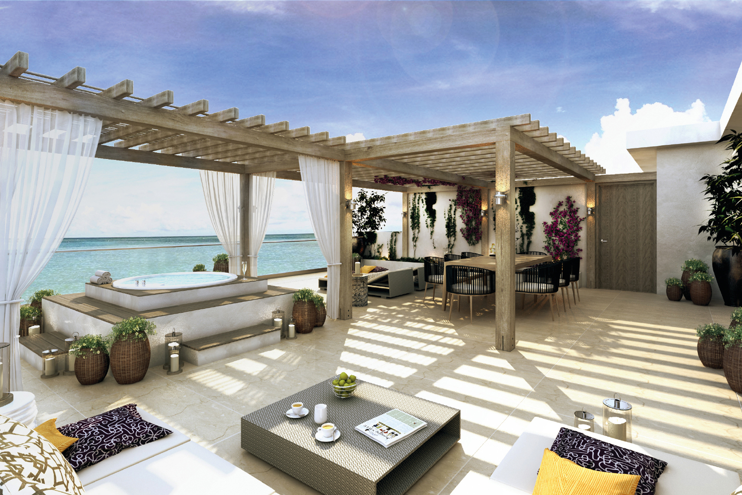 According to Roberto Elias, in designing the property, the goal was to have the ocean take center stage.