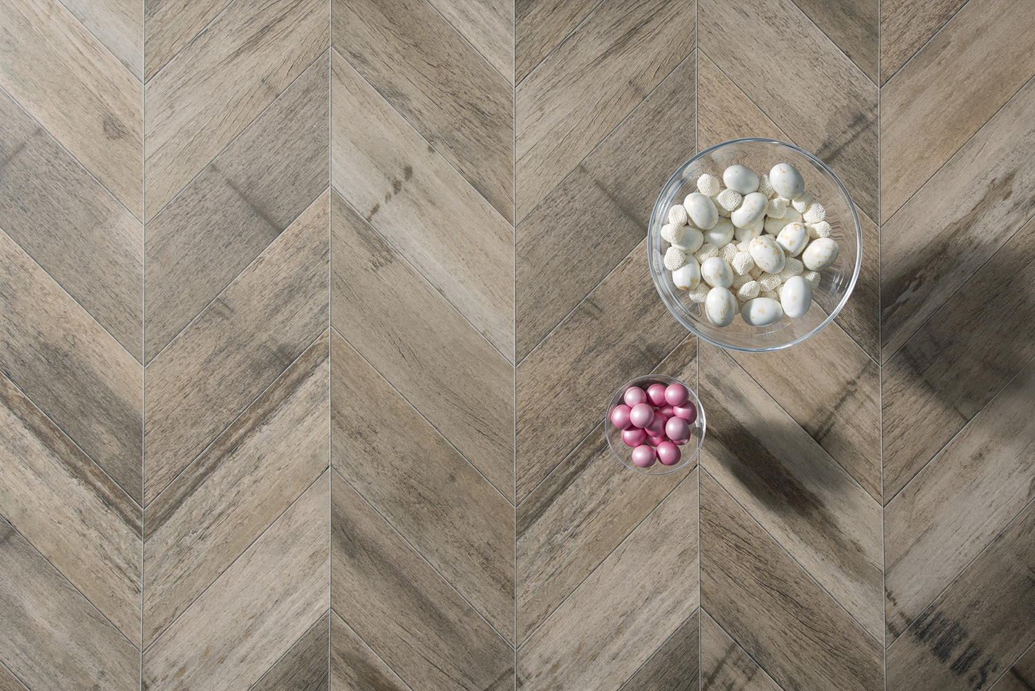 """Material Celebration"" is a collection that includes classic walnut crossgrains to marquetry, blocking, herringbone and modern chevrons."