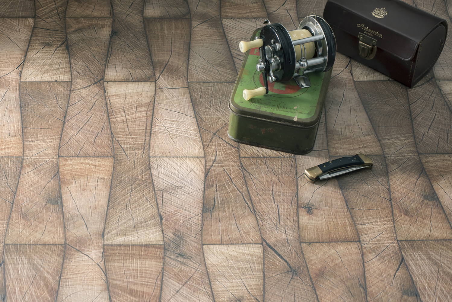 Material Celebration includes classic walnut crossgrains to marquetry, blocking, herringbone and modern chevrons.
