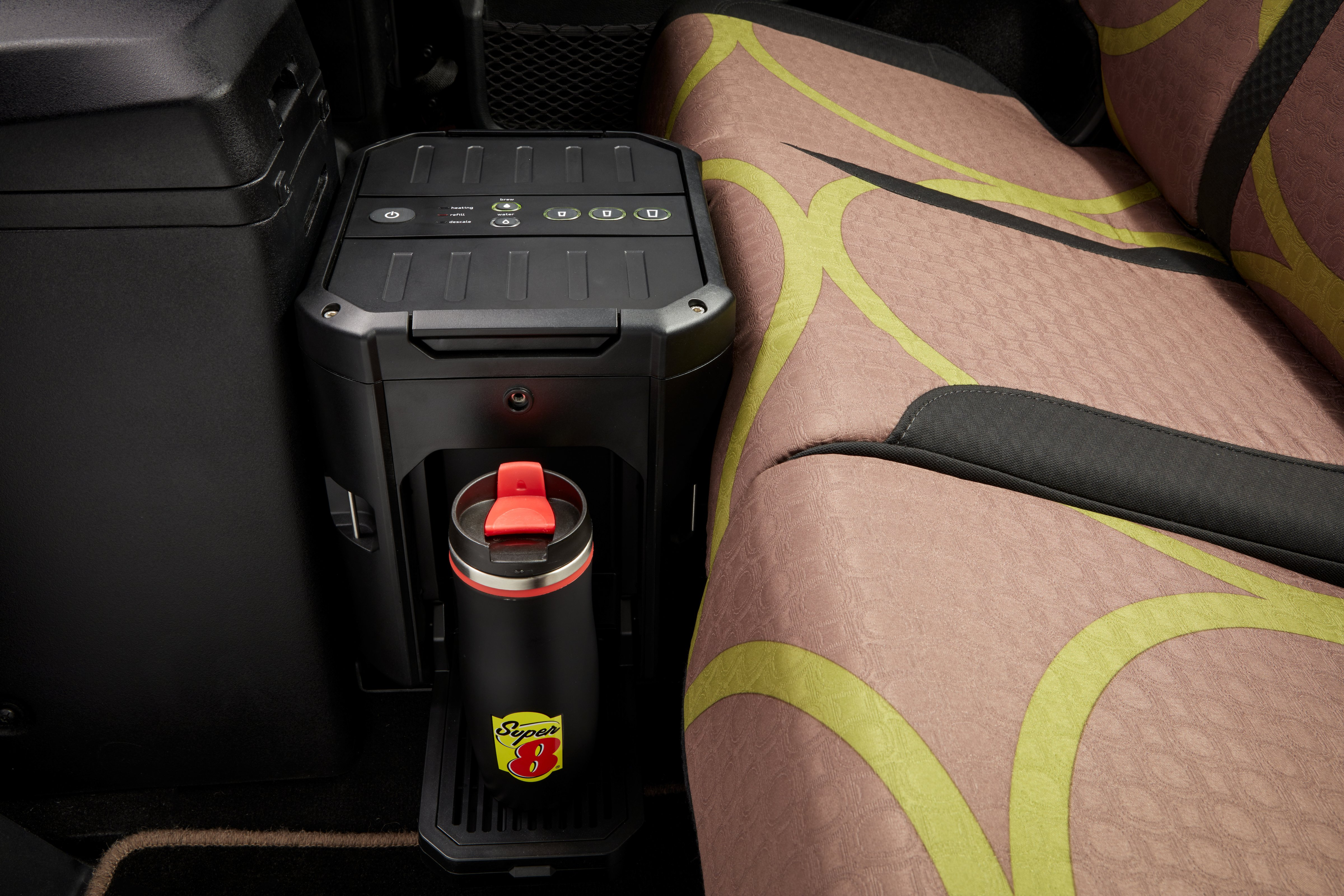 The car has a built-incoffee machine