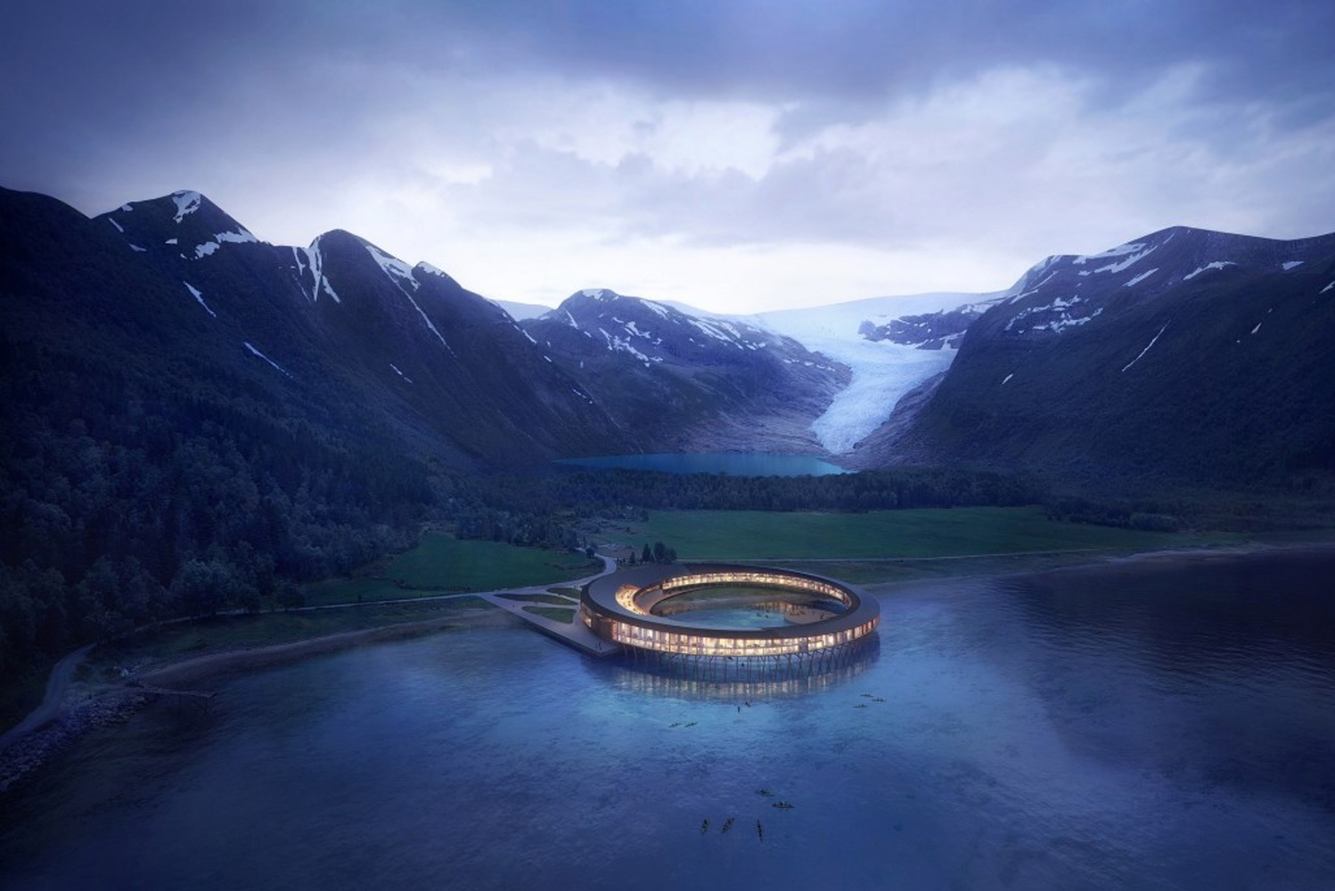 "Oslo-based architecture firm Snøhetta designed ""Svart"", a new hotel opening in Northern Norway in 2021."