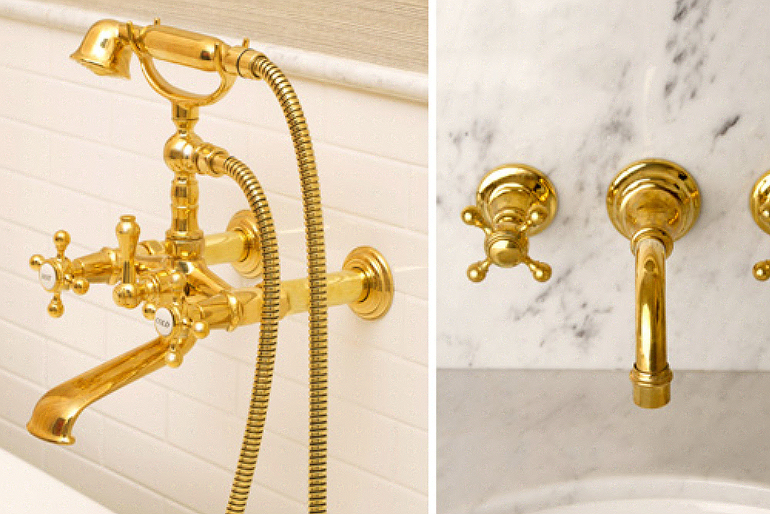 Golden appeal: Victoria lavatory faucet and Chesterfield tub filler ...
