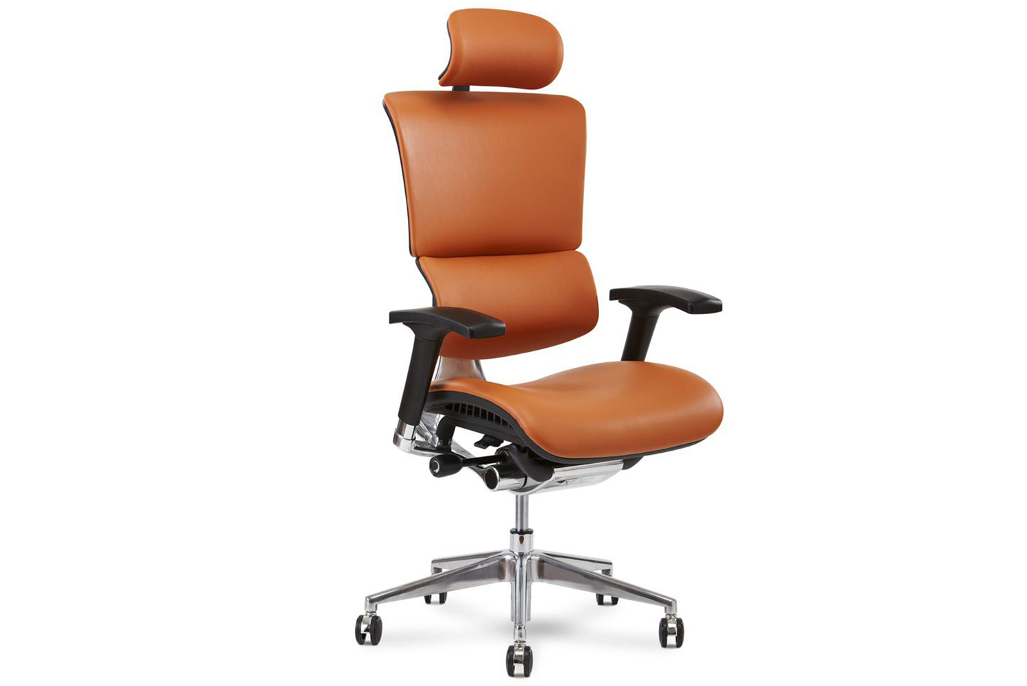 Additional features include adjustable seat height, adjustable seat depth, tilt tension and tilt lock, height-adjustable backrest, four-dimensional arms, and adjustable headrest angle.