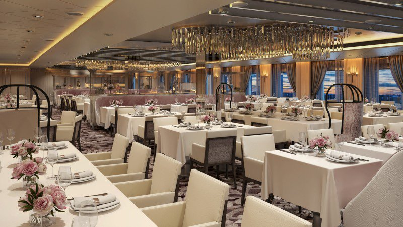 The Normandie main dining venue incorporates actual wood paneling from the SS Normandy