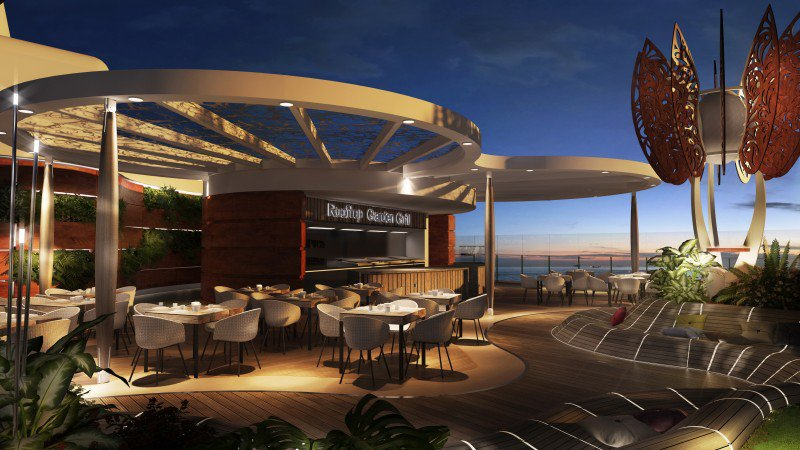 Atop the ship, the Rooftop Garden Grill serves BBQ fare with serious views