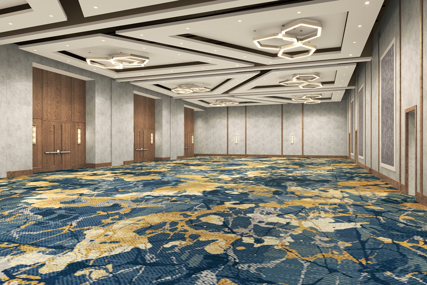 The Grand Ballroom,will be overhauled with textured walls, expansive 18- foot ceilings, new lighting accents and custom millwork evoking the tree cover of the area.