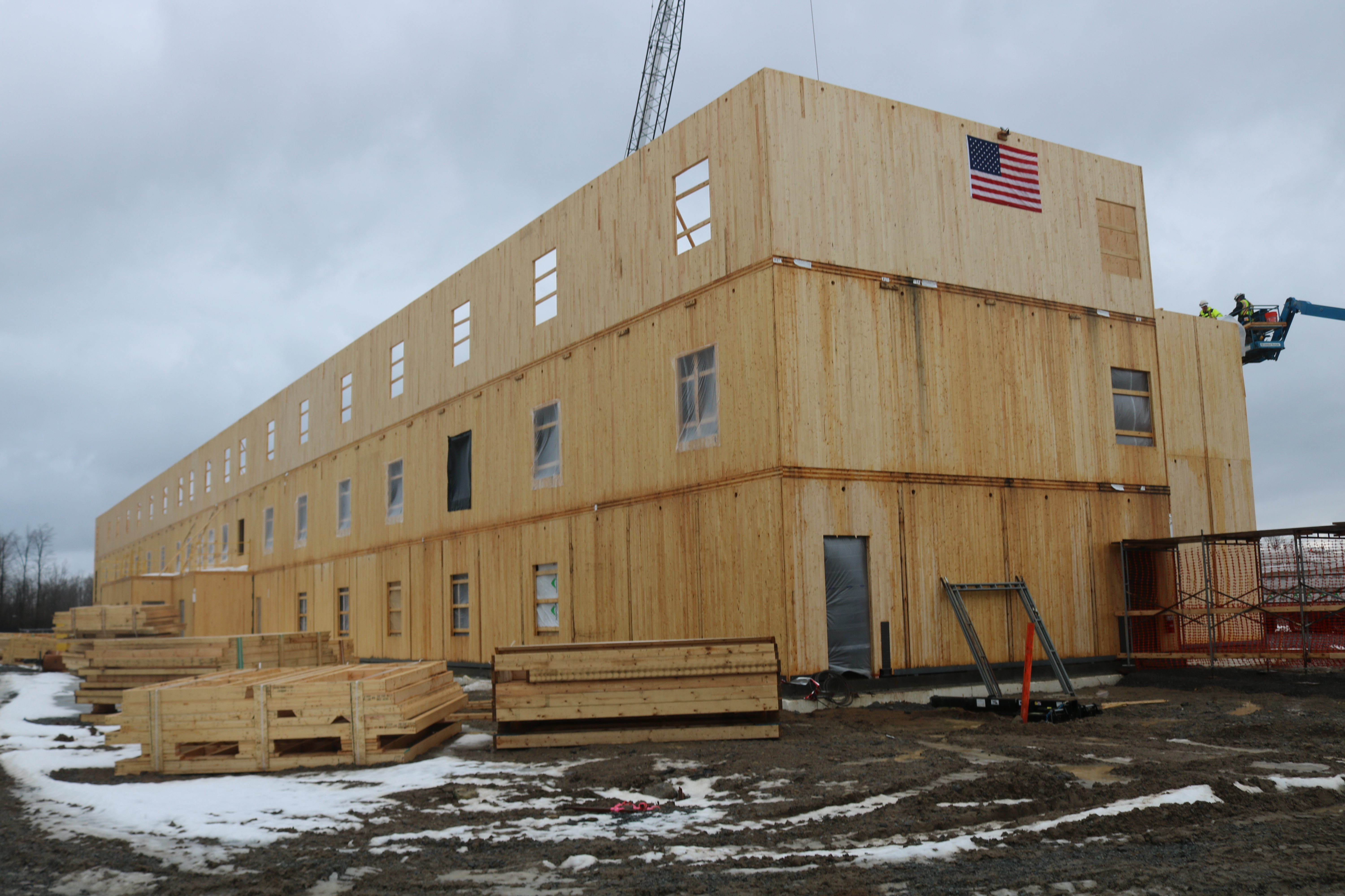 Construction of the Fort Drum Candlewood Suites was able to continue through a cold winter.