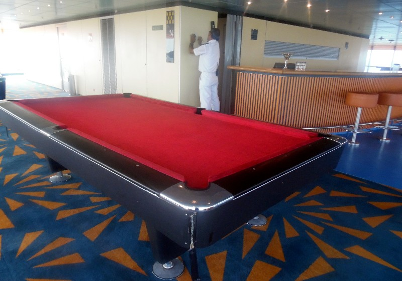 Pool Table in the Crow's Nest Lounge atop the ship