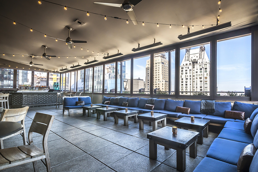 Capping the top of Viceroy Central Park New York, Gerber Group's The Roof is a lounge and covered terrace that evokes the aesthetic of a yacht.