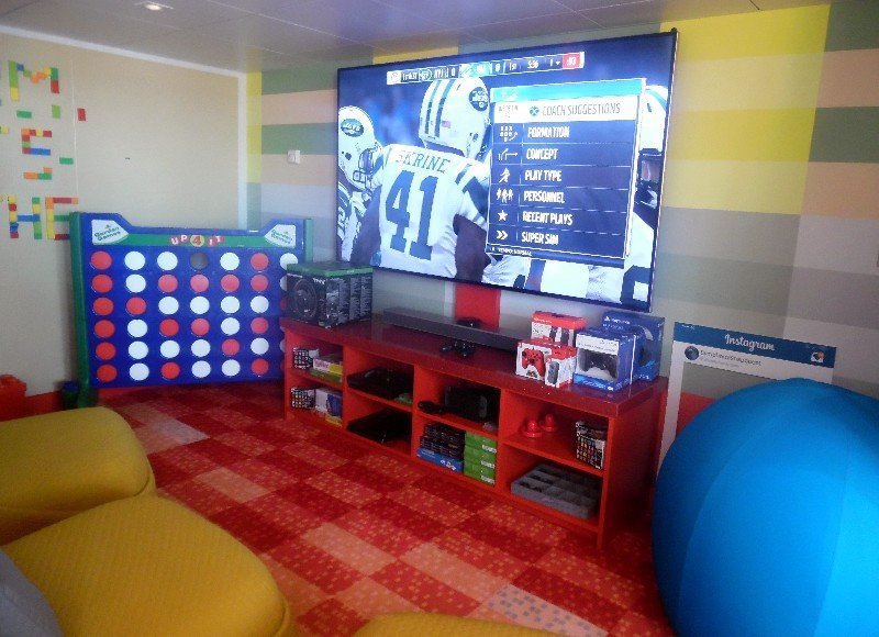 A private cinema area is home to a LEGO wall and an 85-inch HD TV with streaming video, a movie library and plenty of gaming options.