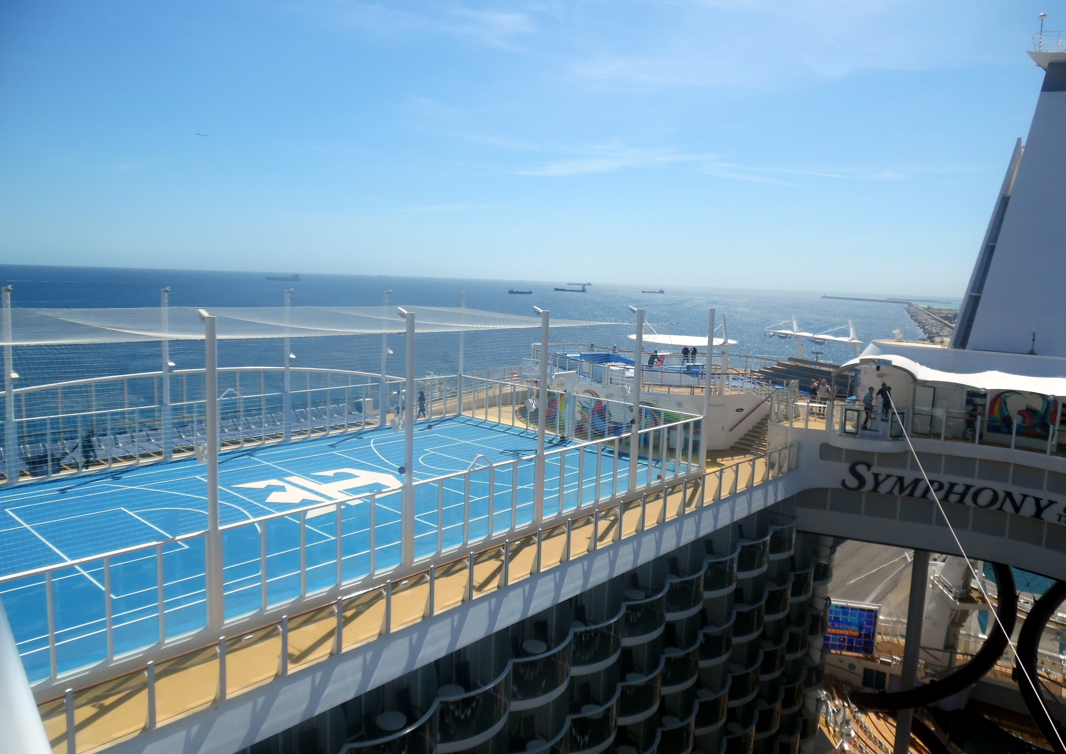 View from the Ultimate Family Suite's balcony to the ship's basketball court