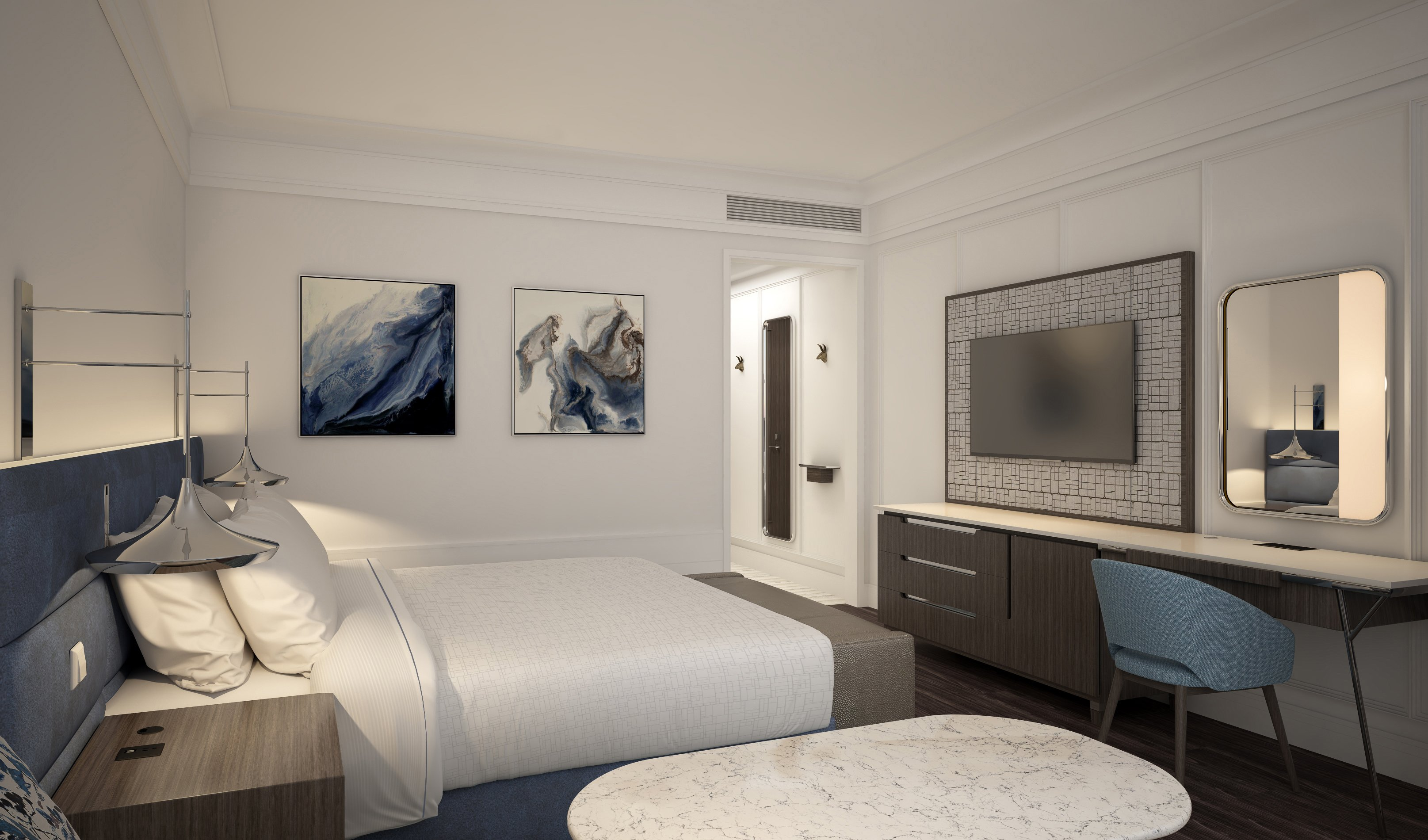 Jeffrey Beers designed the new Wyndham guestrooms.