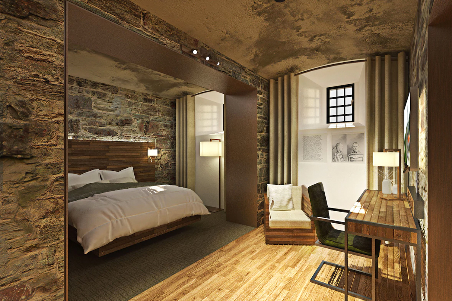 The design firm plans to completely refurbish the two wings of cell blocks to house 63 hotel rooms.