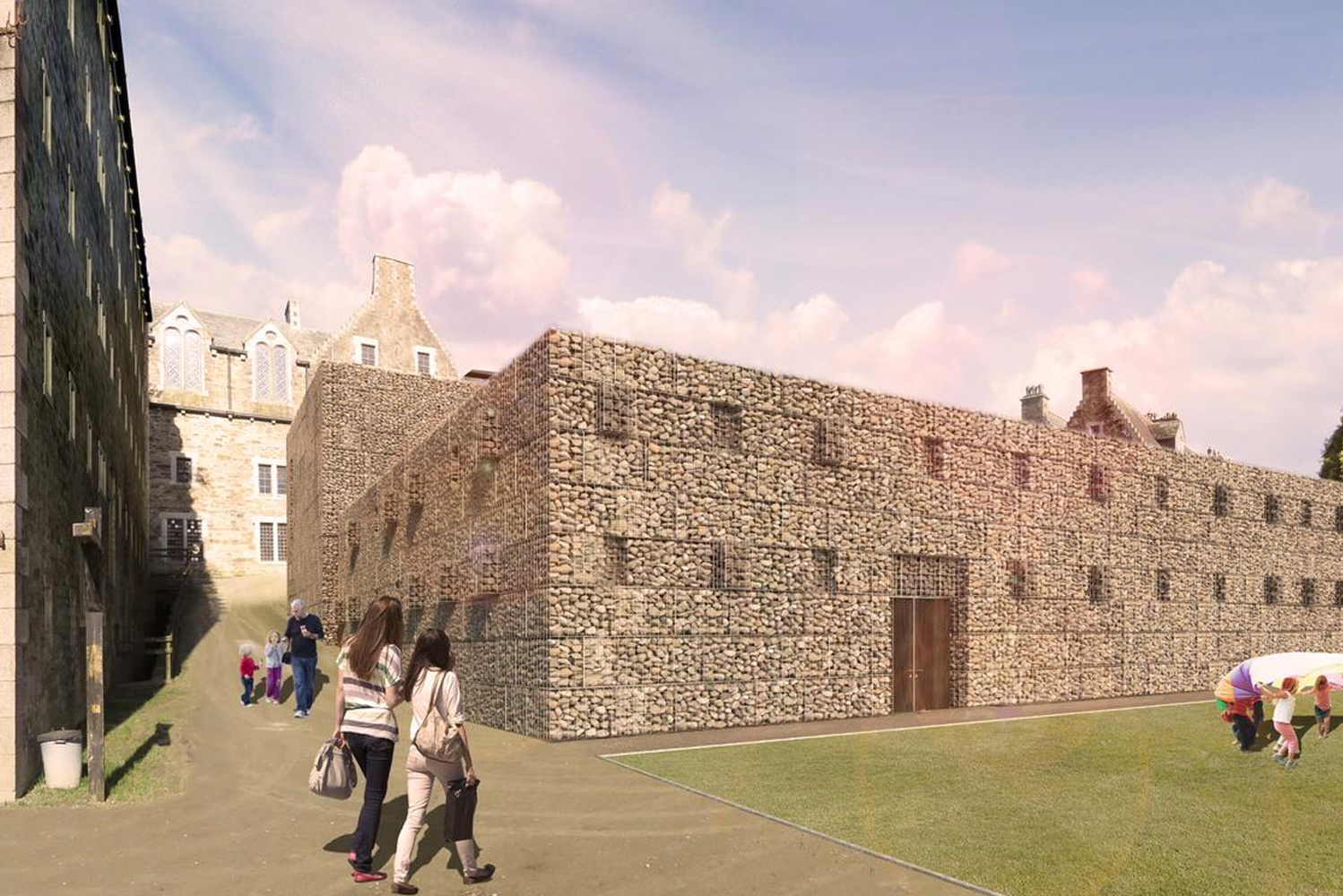 Across the building, a pattern of gabions sitting forward and back of the facades, will break up the massing and echo the fenestration of the jail building.