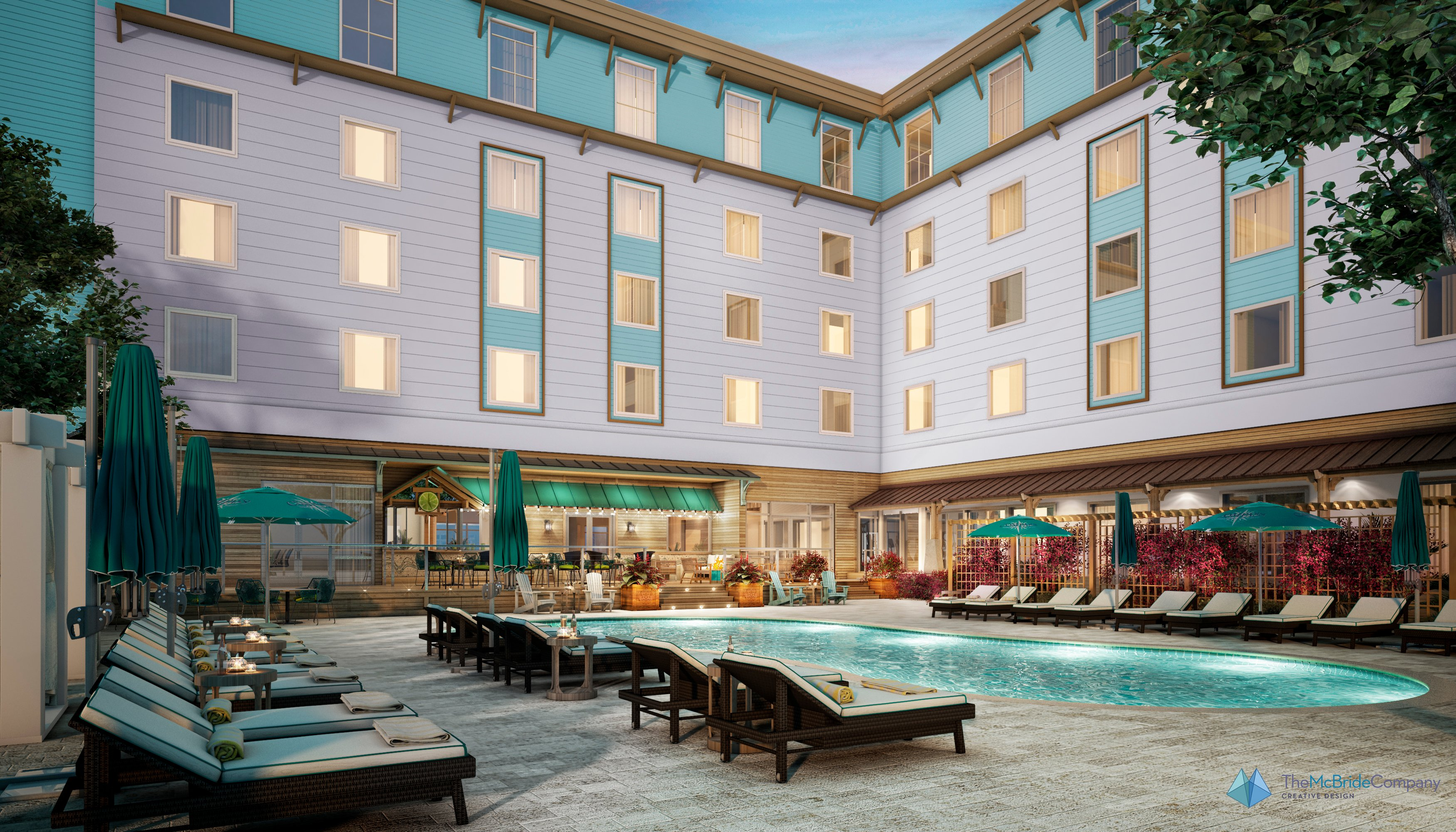 Compass hotels in warmer climates will have free-form pools.