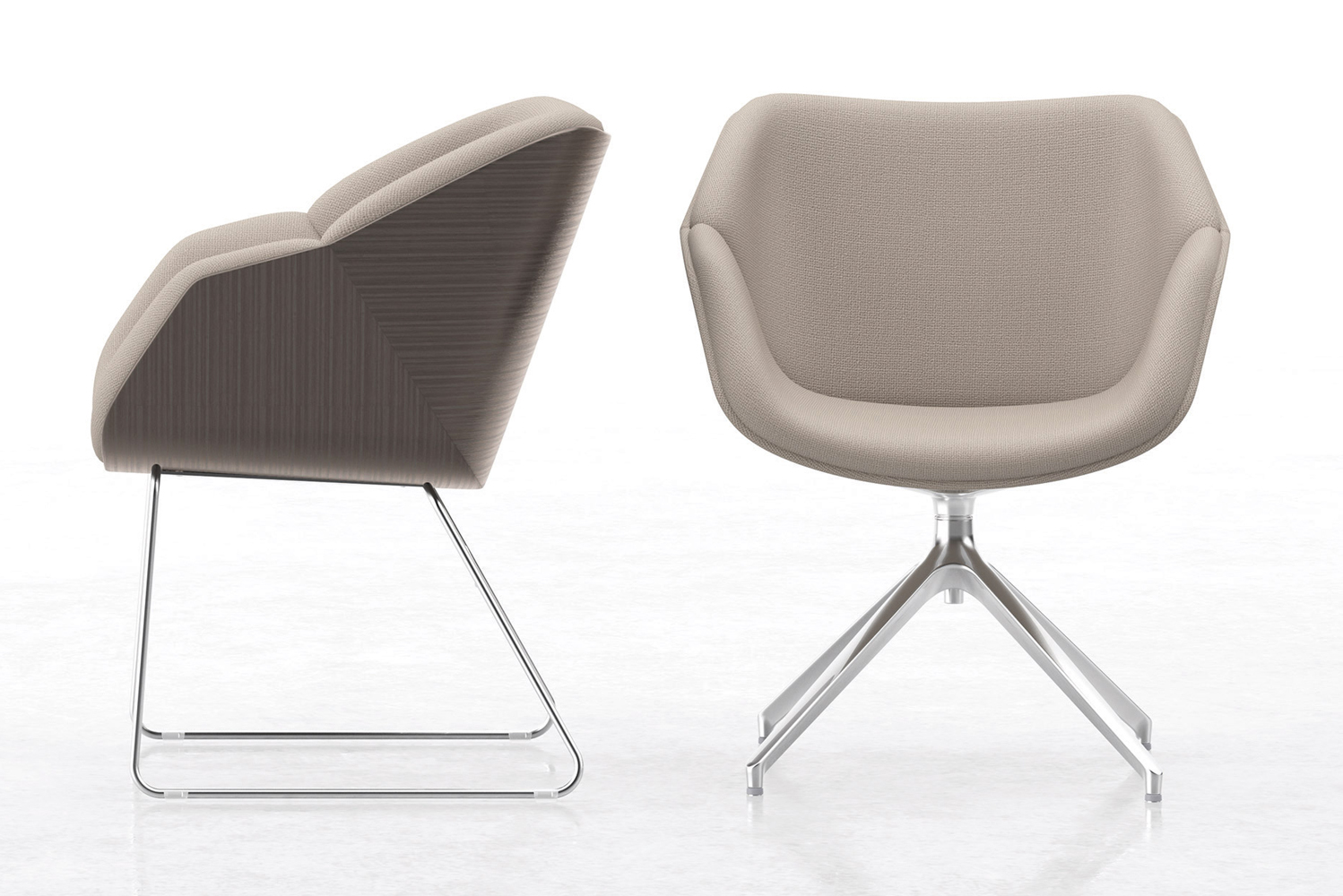 Delgado is available fully upholstered or with a bent plywood back.