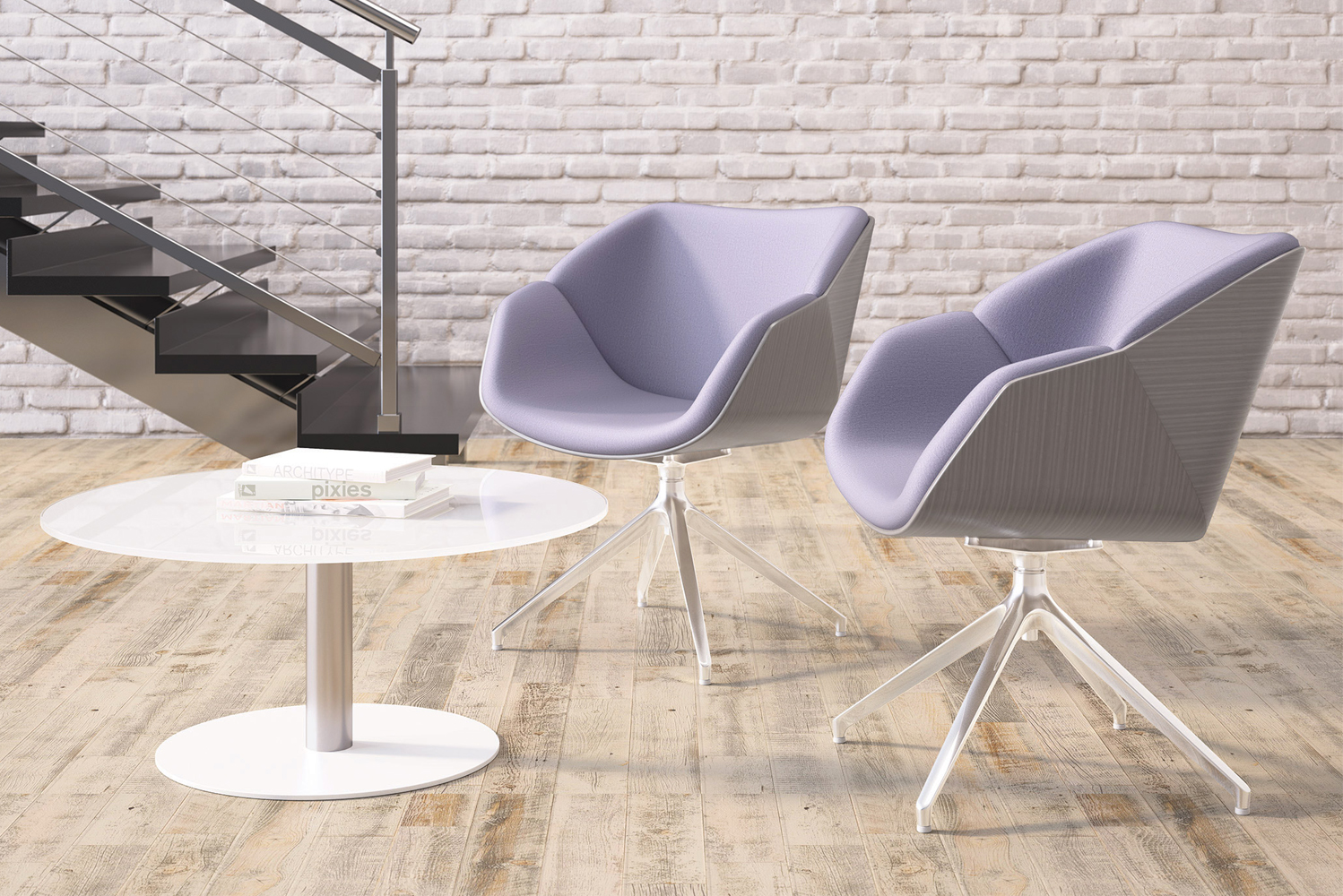 Delgado has seats that can be upholstered with a contrasting back or contrasting seat.