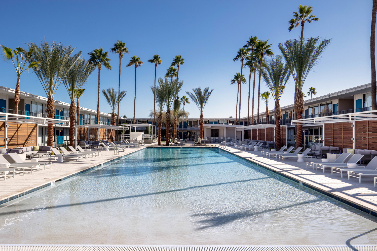 It has a view of Camelback Mountain, 16 cabanas, a fire pit and courtyards with lawn games. At the center of it all is Freestyle, the hotel's pool bar.