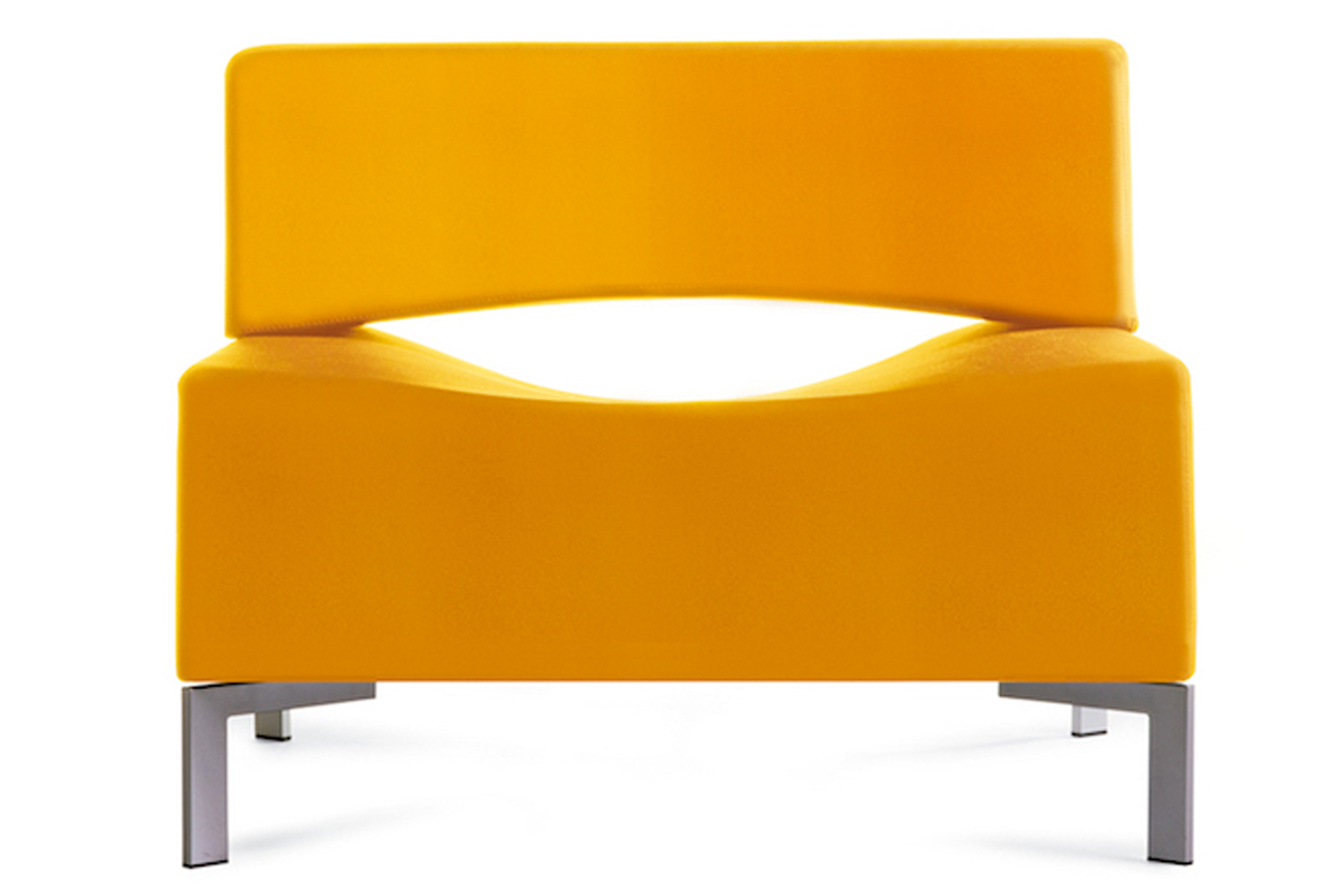Designed by Burkhard Vogtherr for Kron, the chair uses high-resilience foam in each seat cushion.