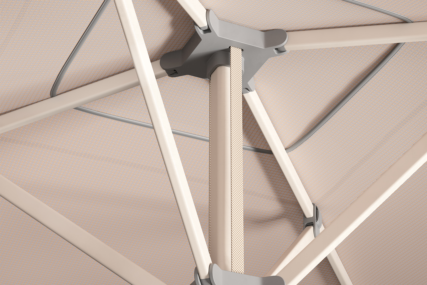 Kettal's own range of sunshade materials is used in combination with the brand's standard color palette.