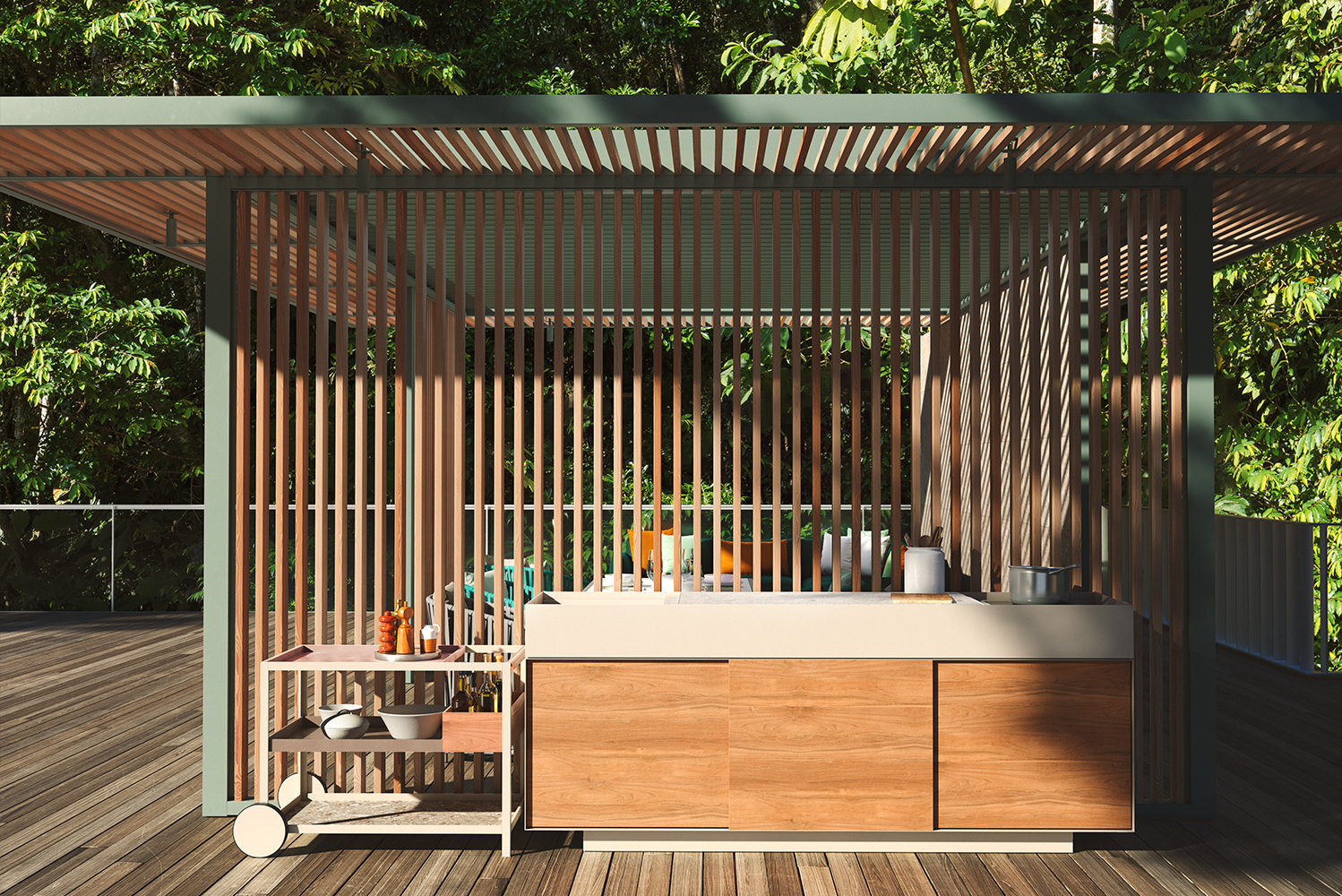 The pavilion has metal covering that also provides the structure for the kitchen, and different panels in a variety of finishes and materials can be attached to it.