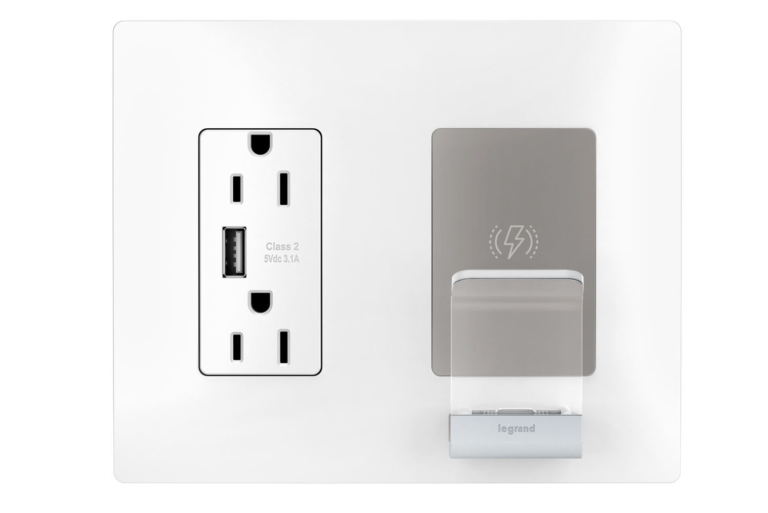 The charger offers a cradle backed by a Qi-certified charging pad to provide simultaneous charging via multiple access points, including two AC receptacles.
