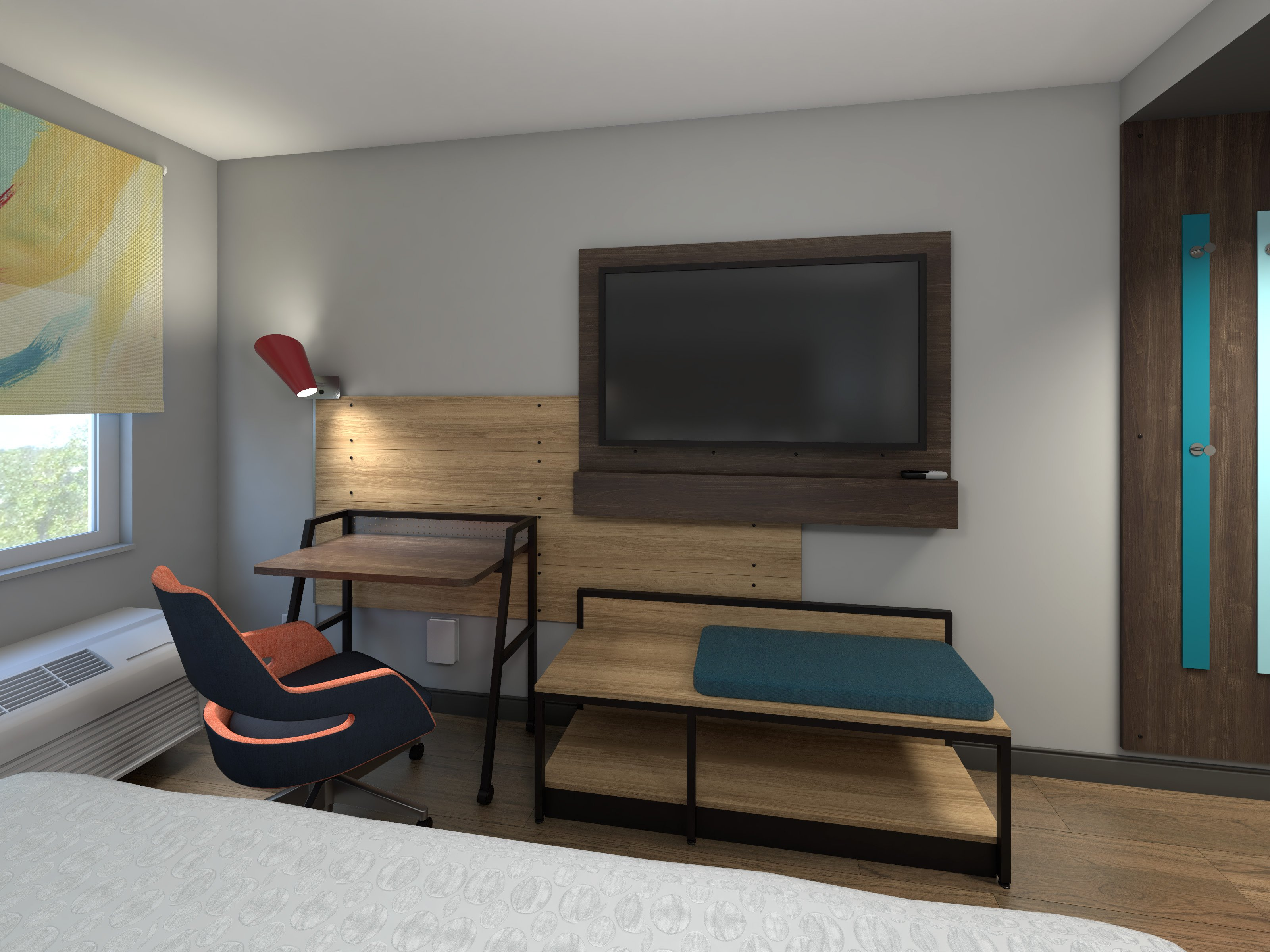 Guestrooms have a completely new mobile desk and media area