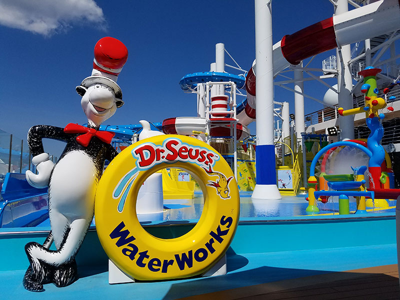 The ship's WaterWorks water park is the first in the fleet with Dr. Seuss theming.