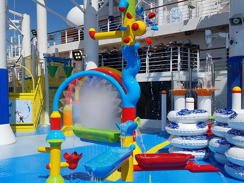 The kiddie splash zone has a number of water toys.