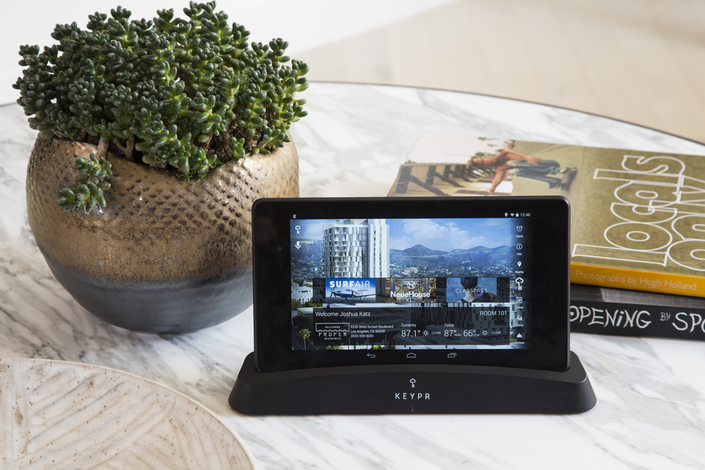 Keypr tablets are prominently displayed at the Hollywood Proper Residences extended-stay guestrooms.