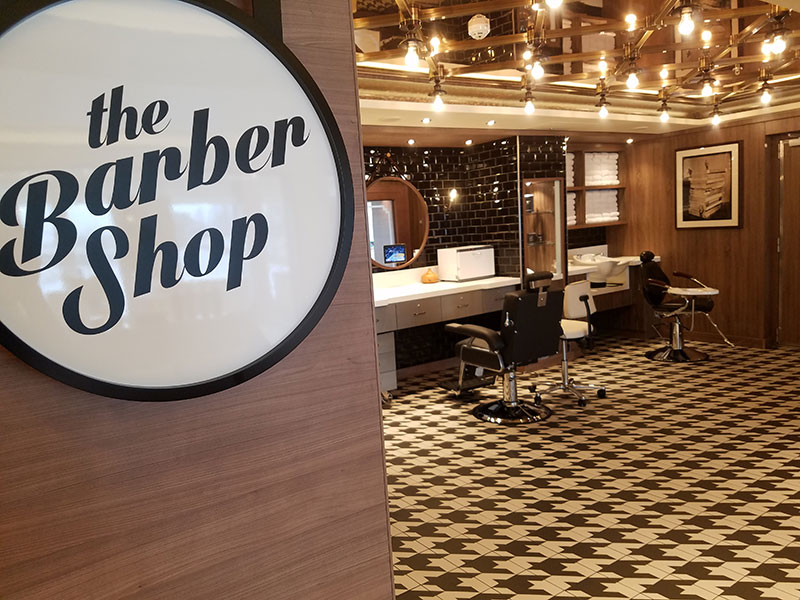 The ship's spa has a barber shop and salon.