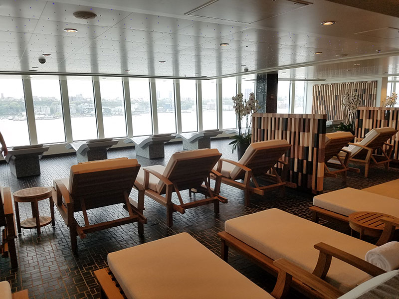 The spa is larger than on previous Breakaway Plus ships, taking up a large section of the ship's aft.