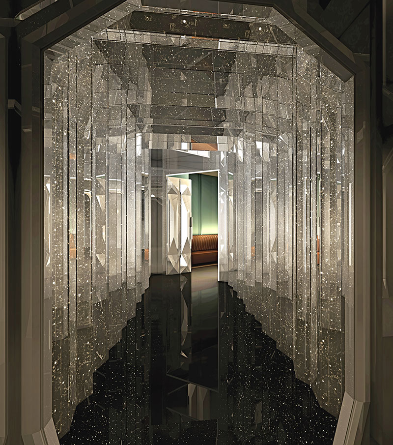 The Manor nightclub's mirrored entryway