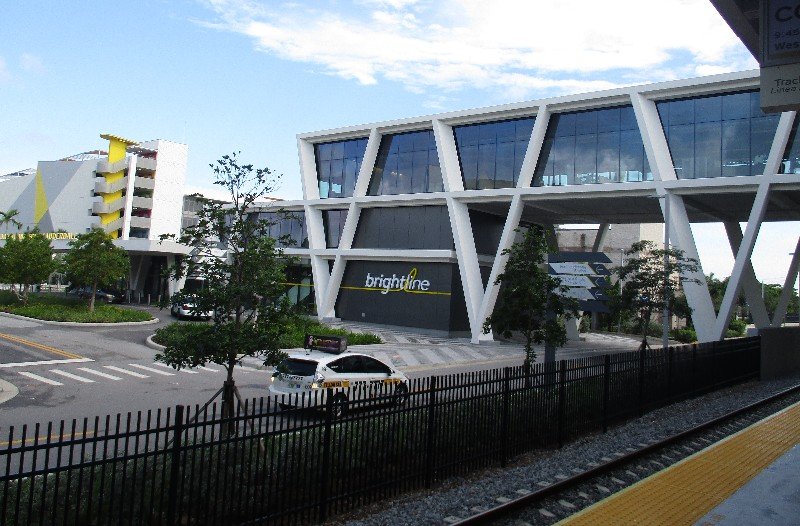 Fort Lauderdale's new Brightline terminal is new. The Brightline garage to the far left offers free parking for train riders.