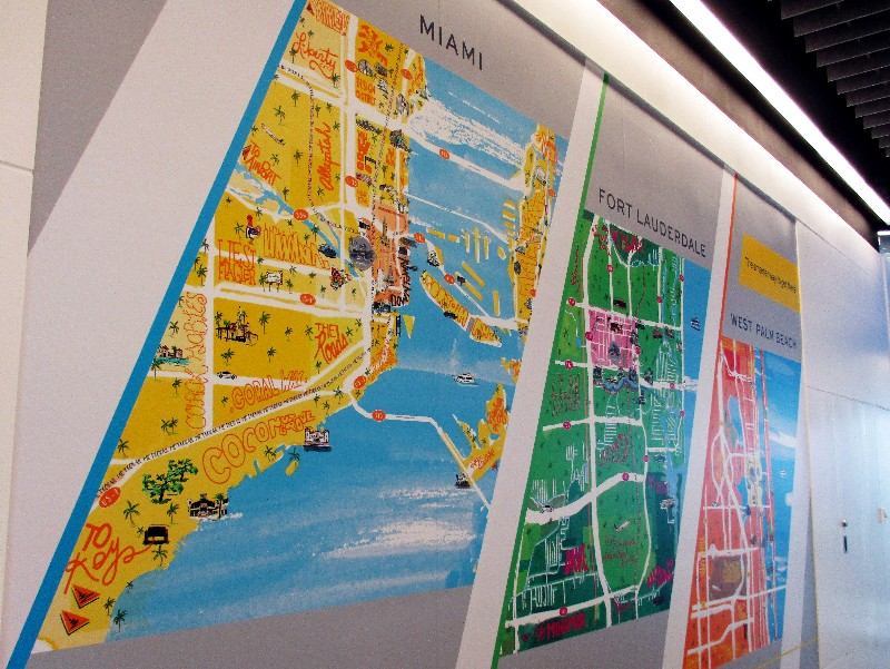 Stations have a colorful map showing the three areas served in South Florida -- Miami, Fort Lauderdale and West Palm Beach