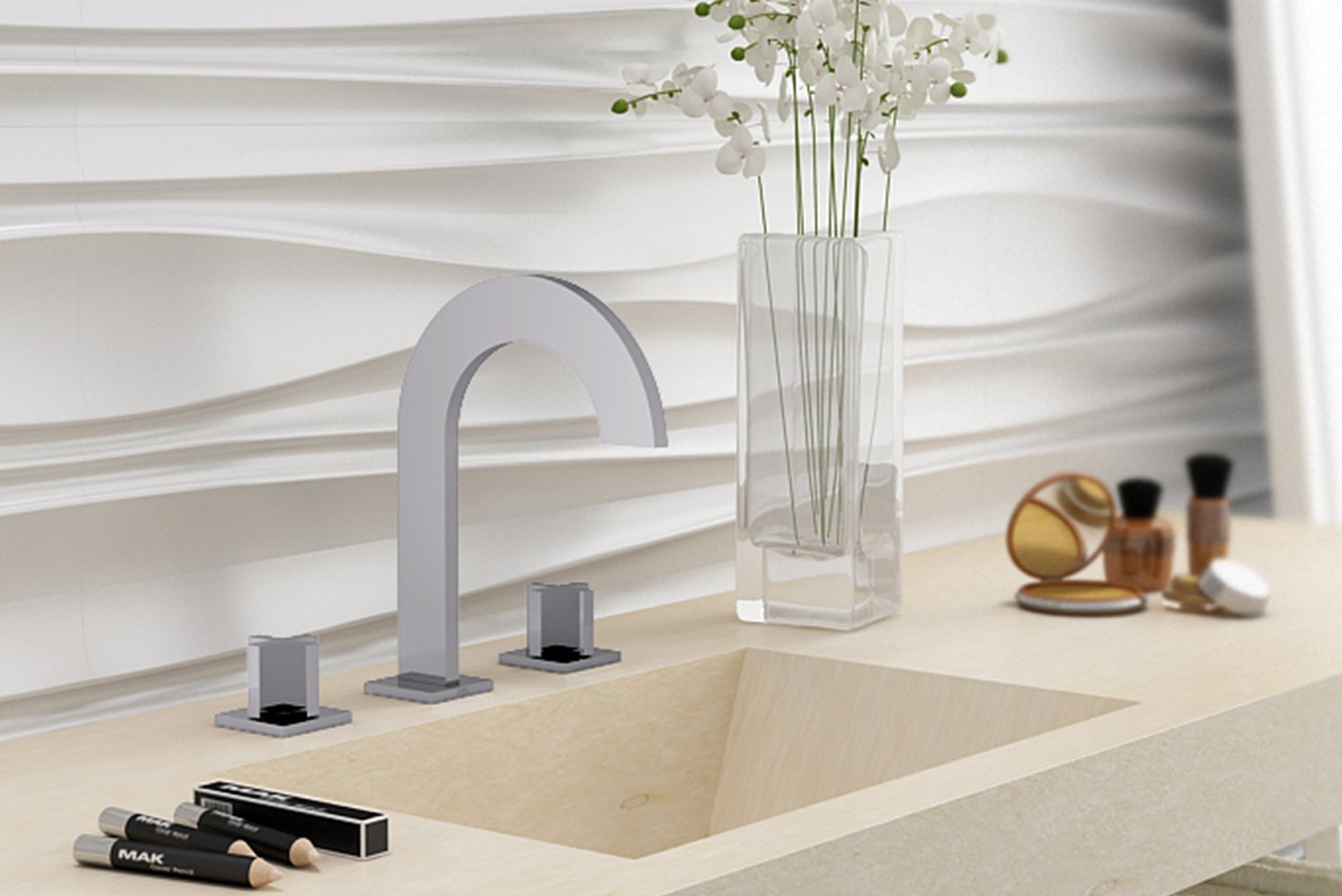 Available with flat, fin-like arched handles or cross handles, Edge has a rounded arc tempered by the masculine sharpness of the faucet's corners.