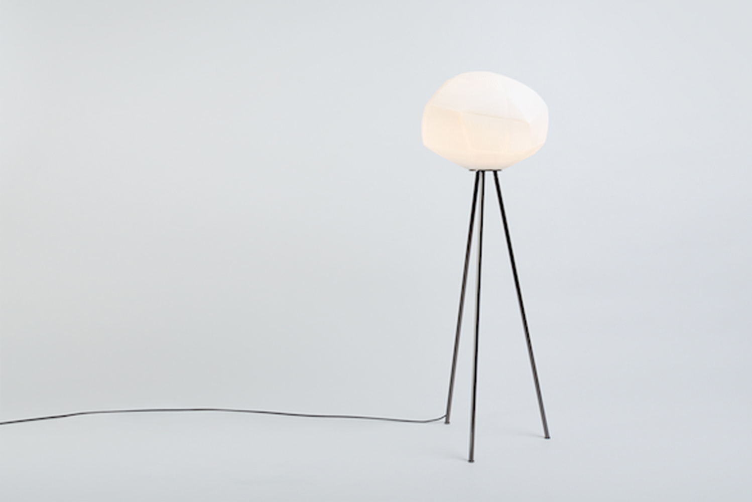 Each lamp comes with a dimmable light bulb and is available with either a black chrome or brushed brass base. It can be adapted into a table, floor or pendant lamp.