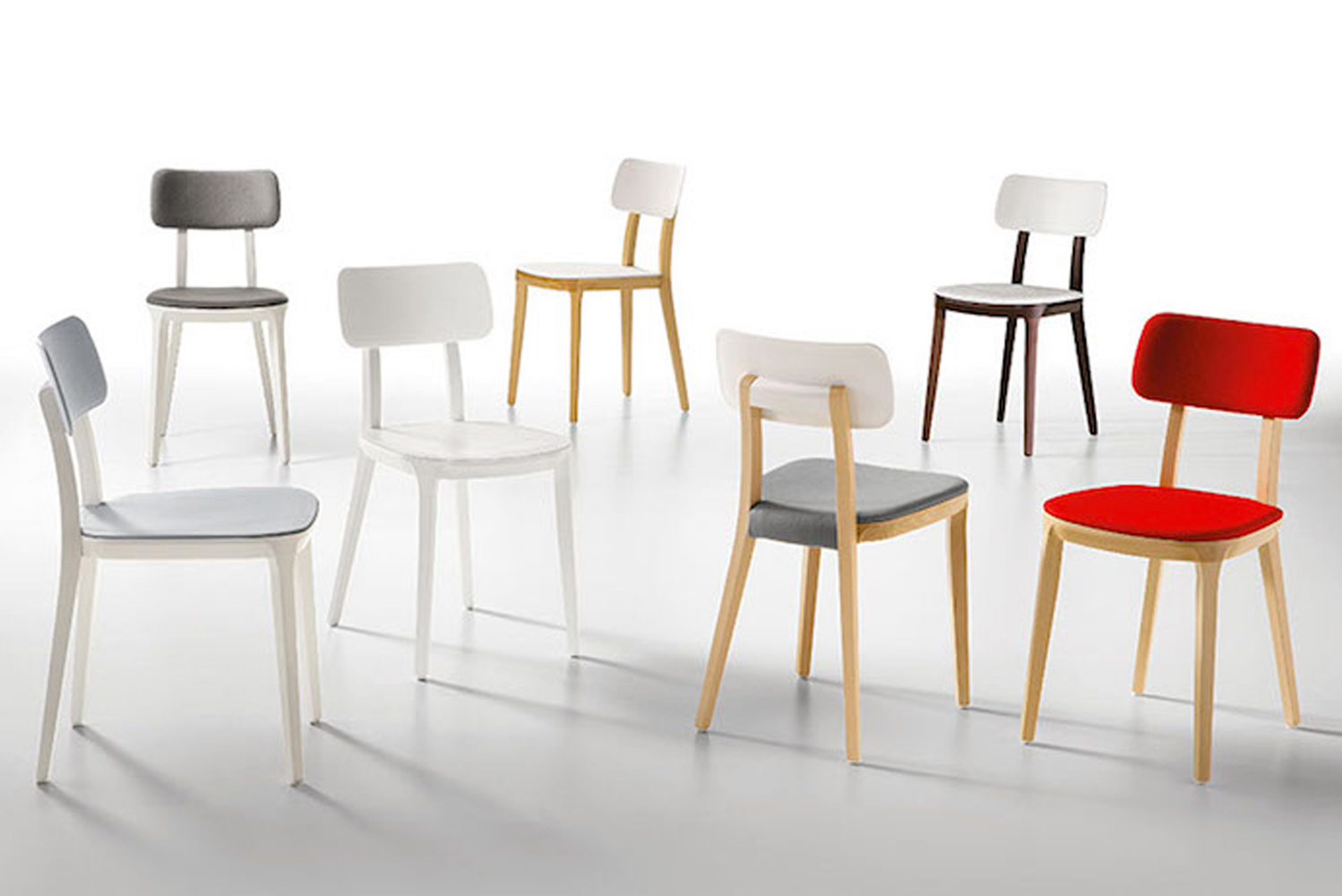 Jude is available in an array of finishes, including wood, color coordinate, plastic and paint.