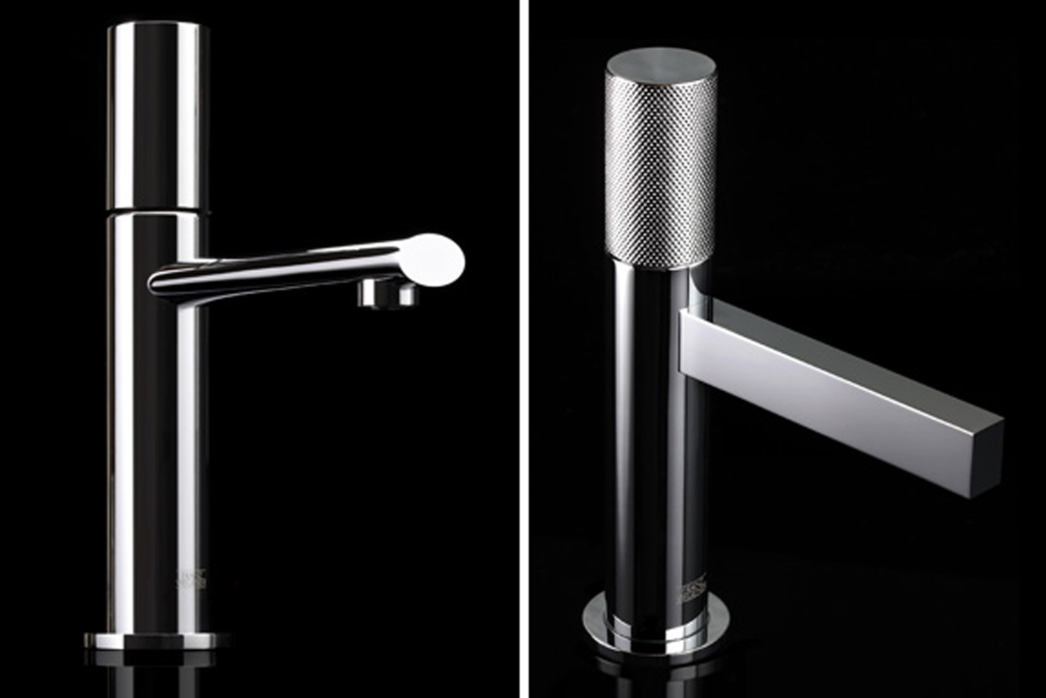 Long and lean, Lollipop's single lever faucet has a no-notch-back tilting handle, which is available with or without diamond knurling details.