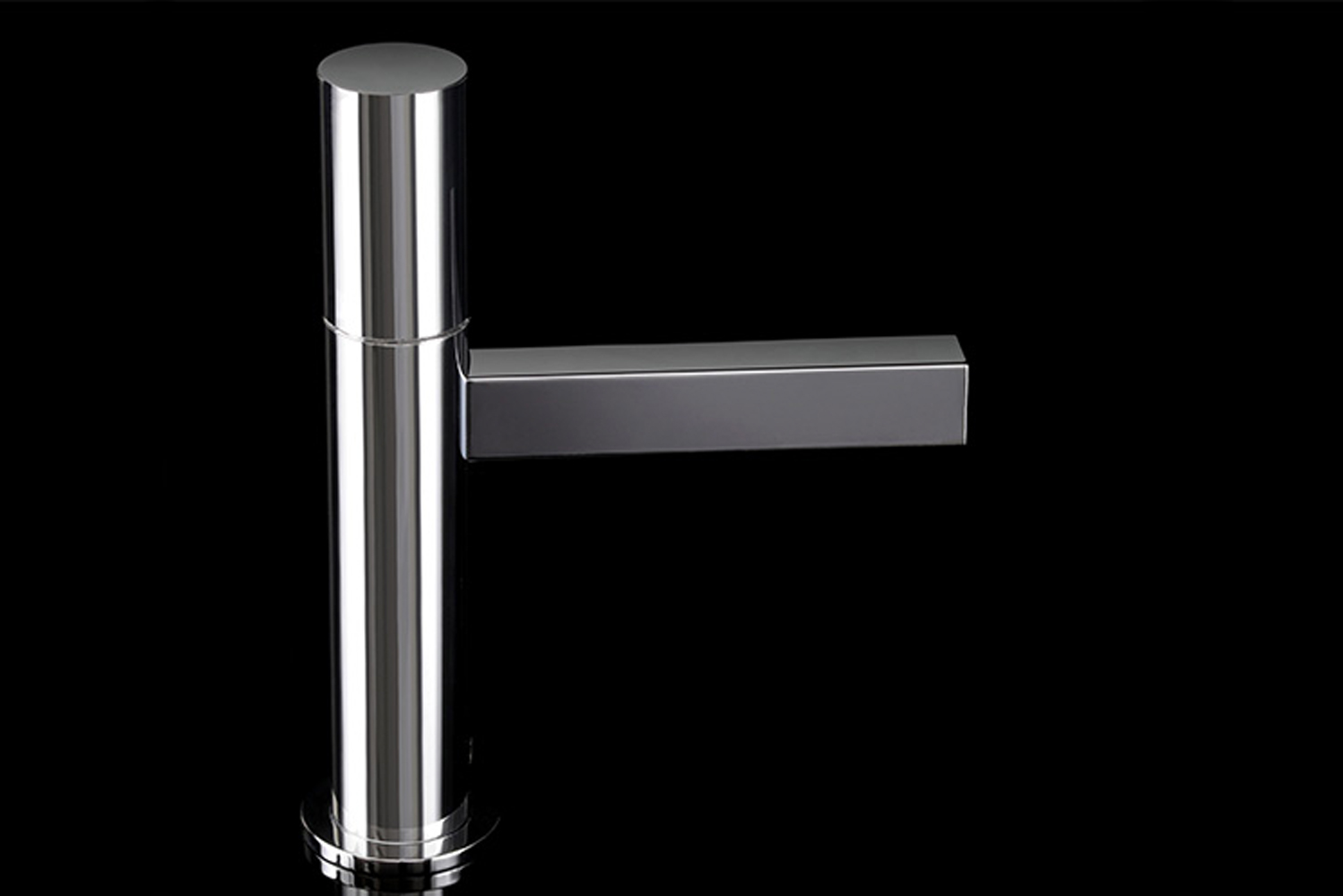 """The addition to the Nerea collection is a single lever faucet that has a 6"""" spout reach with a knurled no-notch-back tilting handle, accentuating the faucet's simple design."""