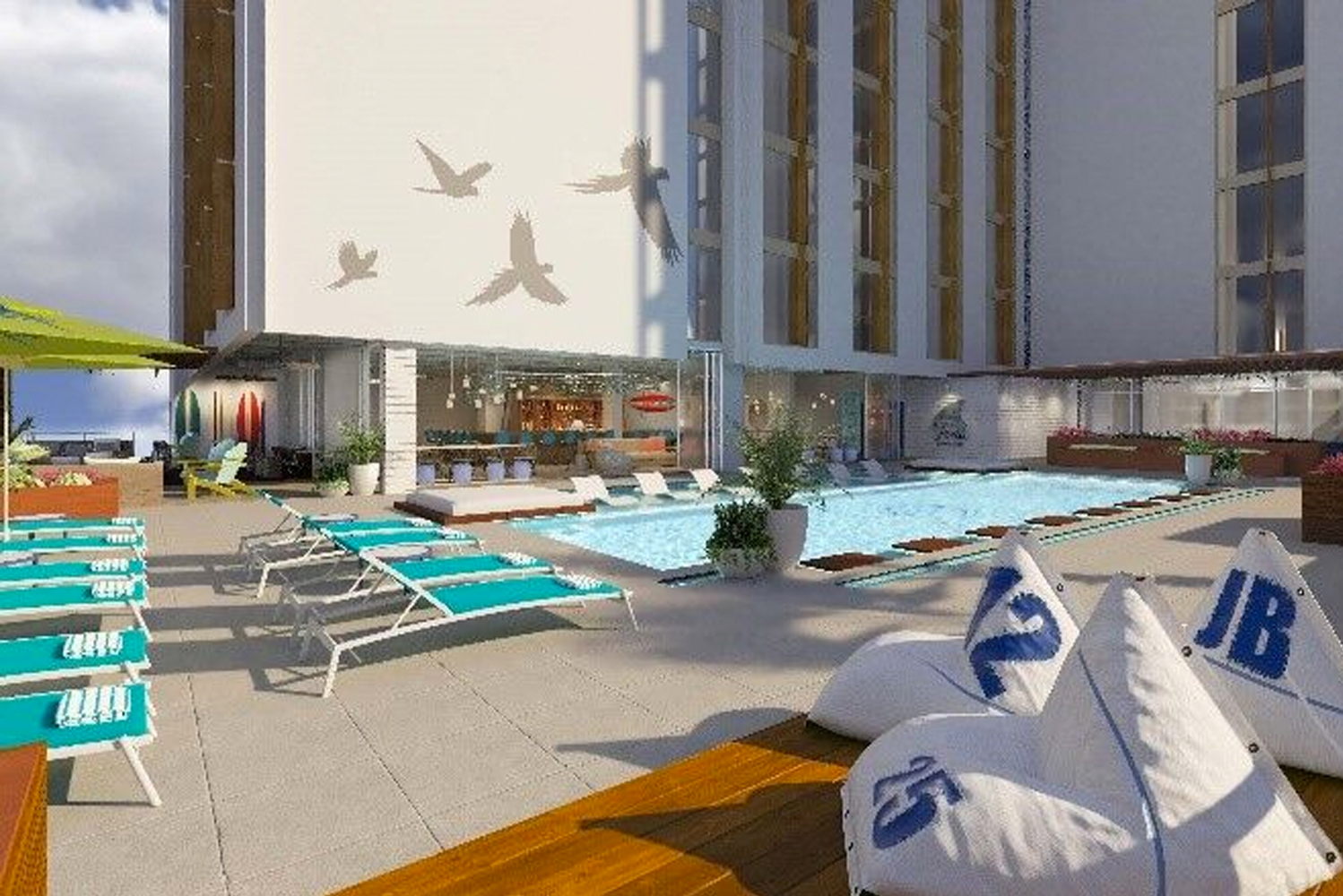When it is completed, Margaritaville Nashville Hotel will have a rooftop relaxation and entertainment area, located on the 4th floor.