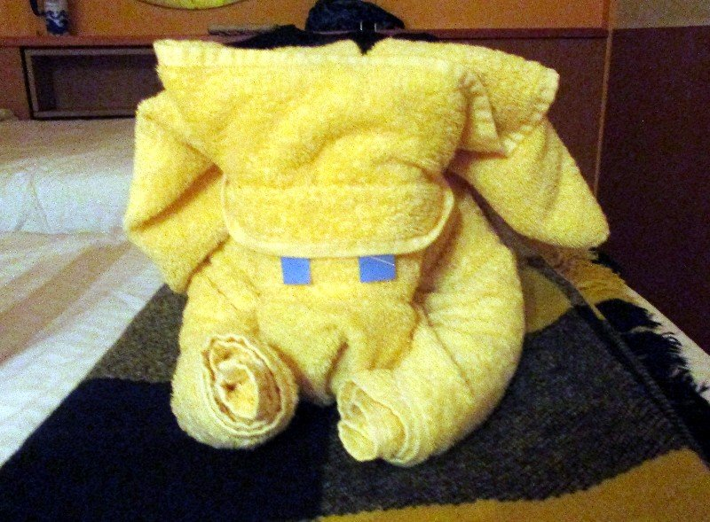 A towel animal was placed on one of our twin beds at night by the cabin steward.