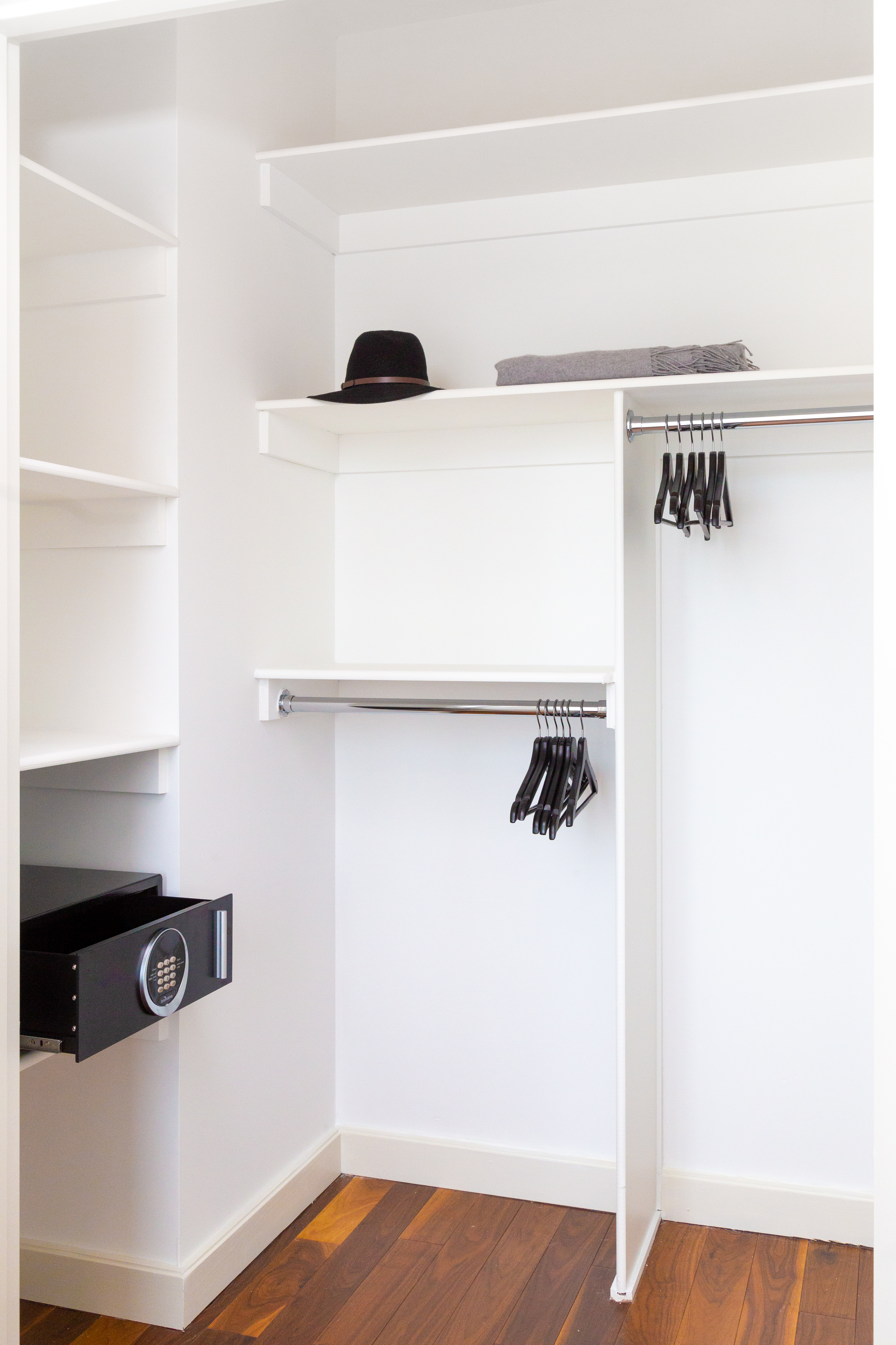 Pod Pad closets come with hotel-like safes for storing valuables.