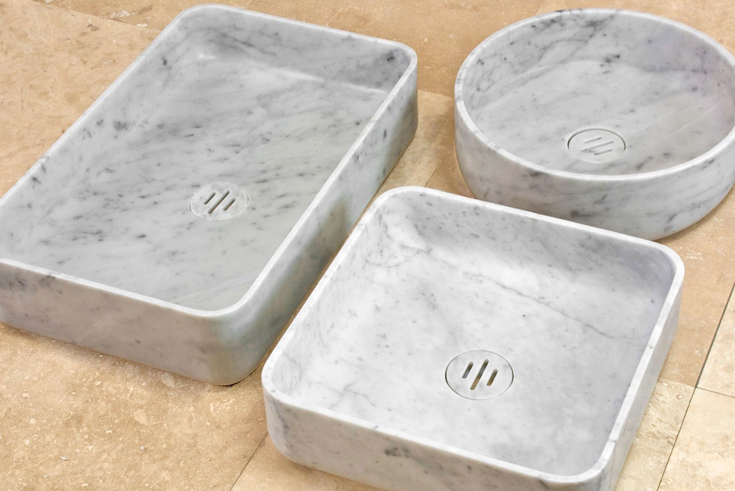 The sinks are available in round, square and rectangular shapes.
