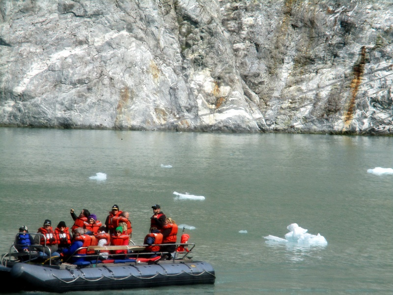 DIBs, small motorized water craft, take guests up close to shorelines and past glacier ice floating in the water. Photo by Susan J. Young