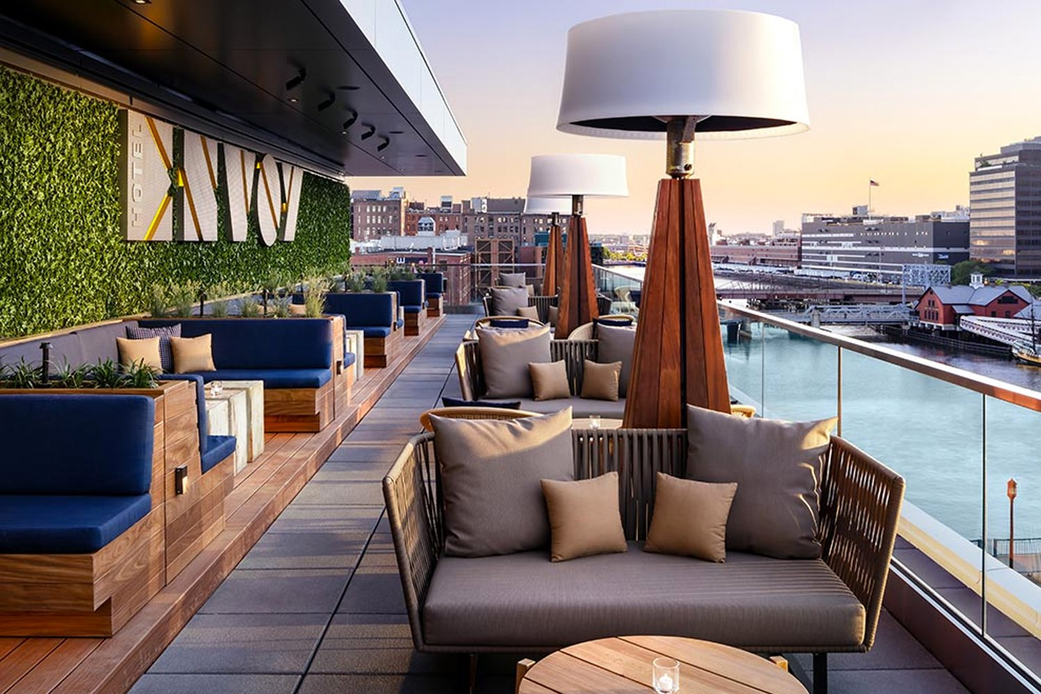 Lookout is an outdoor space with views of the Boston skyline and waterfront.