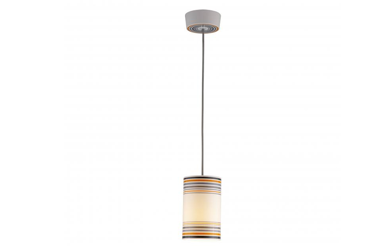 The pendant's white shades are painted at the top and bottom only, in order to introduce small pops of color without impacting the quality of light emitted.