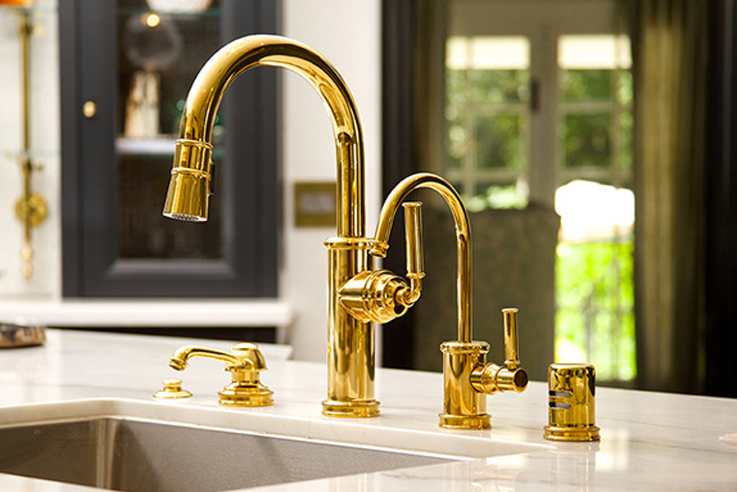 California-made, the Taft kitchen collection is constructed of solid brass.