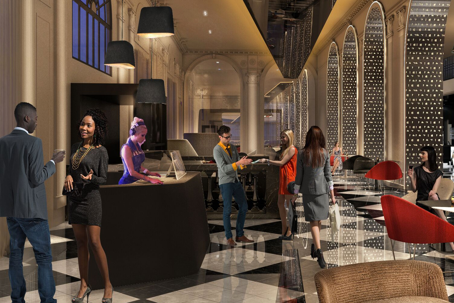 Upon completion, the historic Beaux Arts building will see changes made to its Living Room (W's lobby), all 317 guestrooms and suites, as well as the POV rooftop bar.