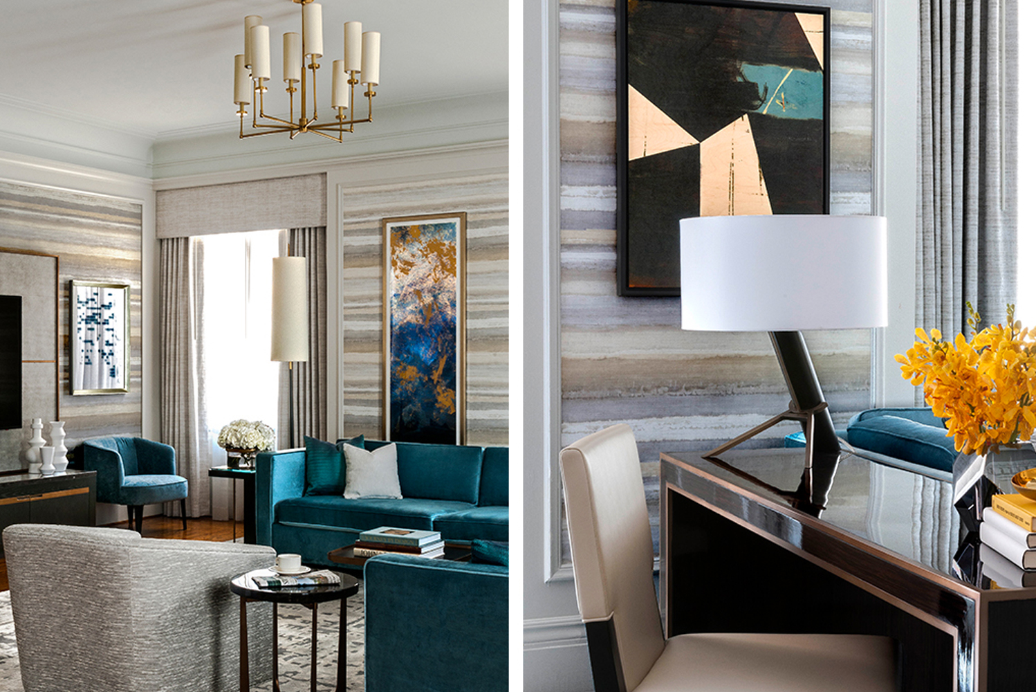 The guestroom interior design pairs classically styled furniture and window treatments with a color palette of French grey and Parisian blue.